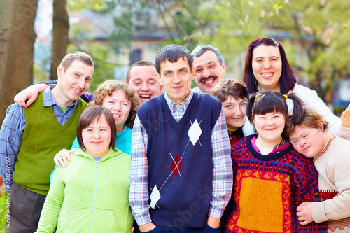 Photo  group of happy people with disabilities
