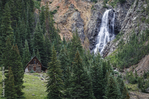 Fotografie, Obraz  Mountain cabin and waterfall in colorado