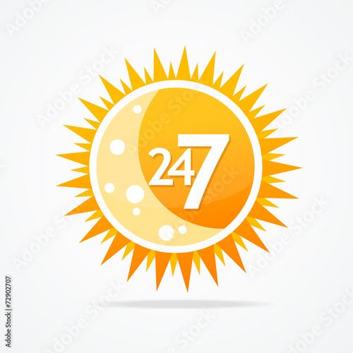 Fényképezés  Sun vector icon. 24 hours and 7 days open sign.