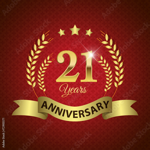 Платно  Celebrating 21 Years Anniversary, Golden Laurel Wreath & Ribbon