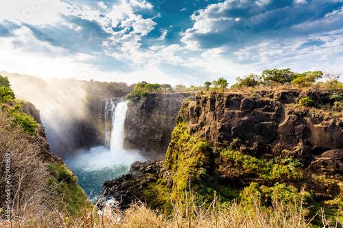 Küchenrückwand aus Glas mit Foto Wasserfalle The Victoria falls with dramatic sky