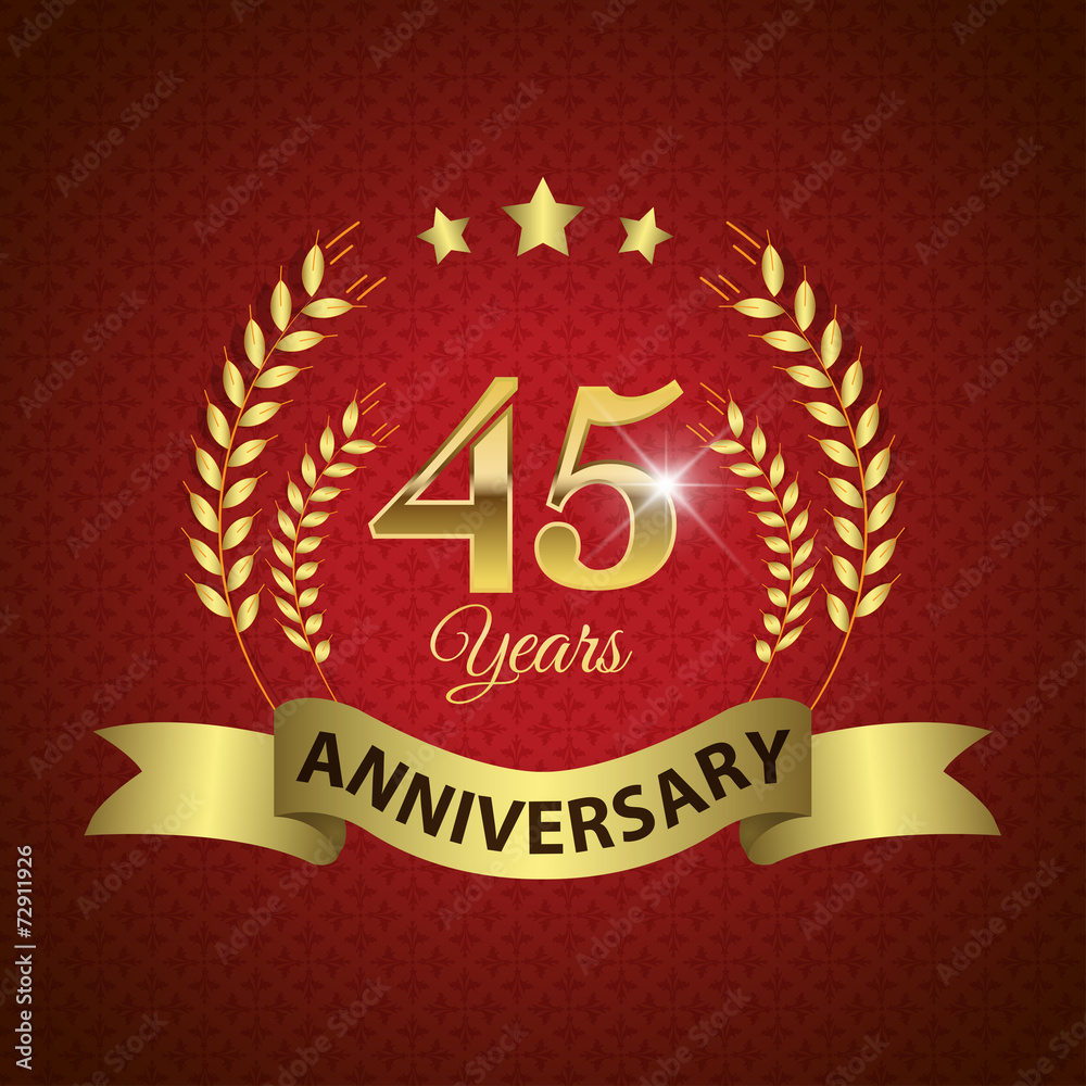 фотография  Celebrating 45 Years Anniversary, Golden Laurel Wreath & Ribbon