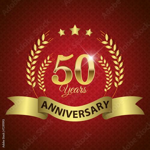 фотография  Celebrating 50 Years Anniversary, Golden Laurel Wreath & Ribbon