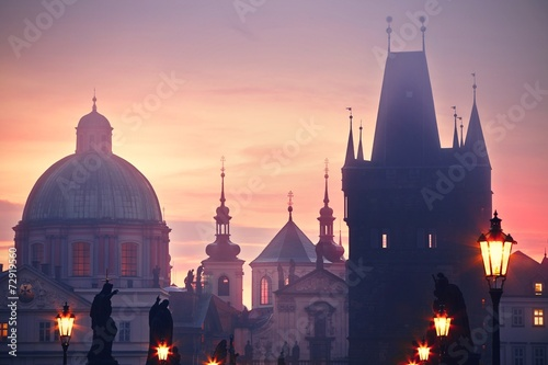 Printed kitchen splashbacks Prague Foggy morning in Prague
