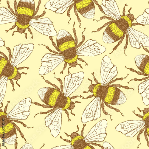 Recess Fitting Graphic Prints Sketch bumble bee in vintage style