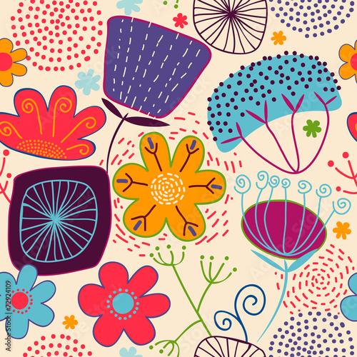 Fototapeta Colorful floral seamless pattern obraz na płótnie