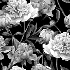 FototapetaSeamless monochrome background with peonies