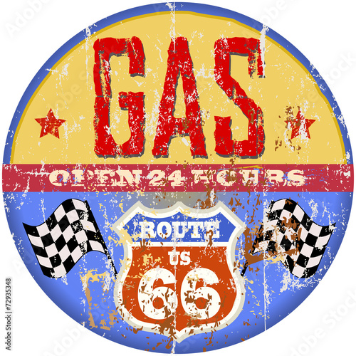 vintage gas station sign, route sixty six, vector format