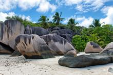 Big Rocks And Green Trees At Seychelles Island