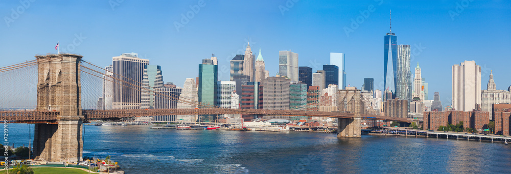 Fototapety, obrazy: Brooklyn Bridge and Downtown Skyline in New York