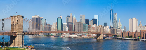 Staande foto New York Brooklyn Bridge and Downtown Skyline in New York