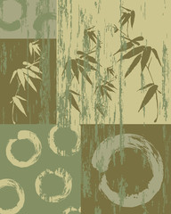 Fototapeta Japoński Zen circle and bamboo vintage green background