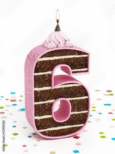Poster  Number 6 shaped chocolate birthday cake with lit candle