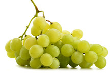 Bunch Of Fresh White Grapes Isolated On White
