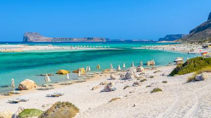 Umbrellas on Balos beach on Crete island, Greece