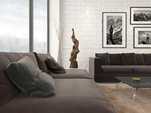 Modern Living Room Interior With Abstract Artwork