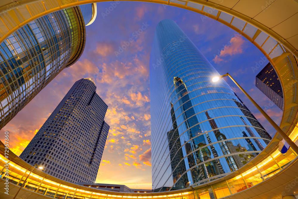 Fotografia Houston Downtown sunset skyscrapers Texas
