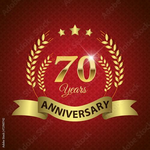 фотография  Celebrating 70 Years Anniversary, Golden Laurel Wreath & Ribbon