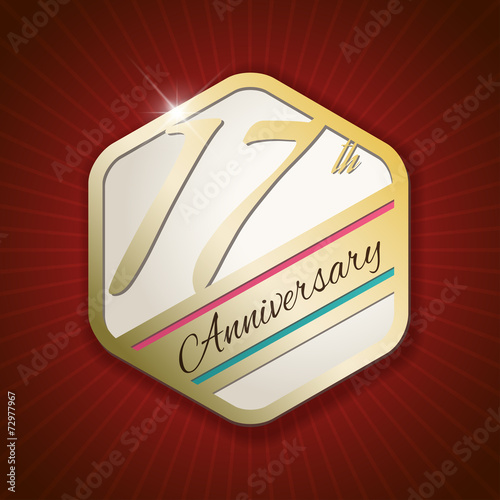 Платно  17th Anniversary - golden Seal, Badge on red rays background