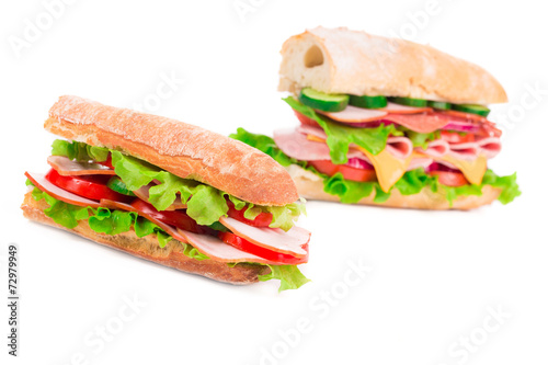 Staande foto Snack Sandwiches with ham and tomato