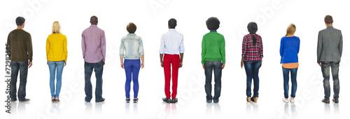 Obraz Multiethnic Group of People Standing Rear View - fototapety do salonu
