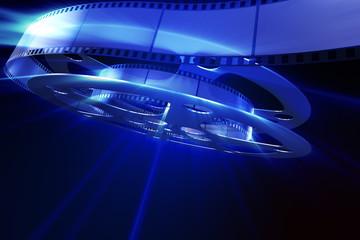 Film reel in blue light
