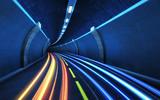 Fototapeta Perspektywa 3d - Light strips in the tunnel.