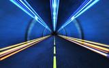 Fototapeta Do przedpokoju - Light strips in the tunnel.