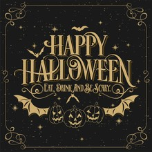Happy Halloween Typographical Background On Chalkboard