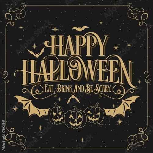 Spoed Fotobehang Halloween Happy Halloween Typographical Background On Chalkboard