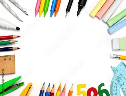 Fototapeta School supplies isolated on white obraz na płótnie
