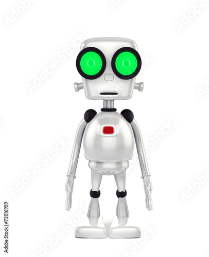 In de dag Robots 3d shinny and glossy robot on white background render