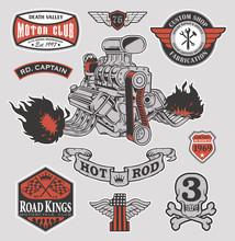 Hot Rod Engine Motor Graphic Set