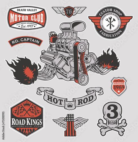 Fotografie, Obraz  Hot rod engine motor graphic set