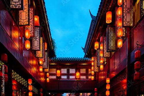 Spoed Foto op Canvas China Jinli Pedestrian Street Chengdu Sichuan China
