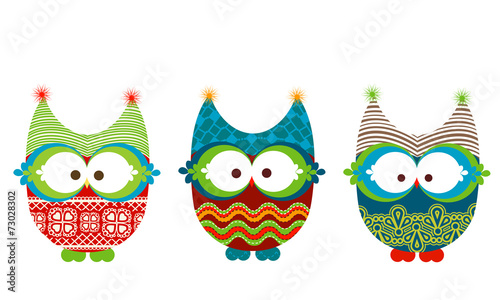 Foto op Plexiglas Uilen cartoon winter owls