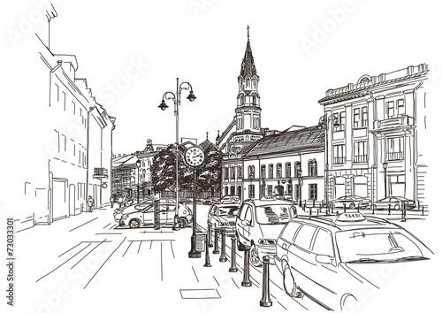 wektorowy-rysunek-srodkowa-ulica-stary-europejski-miasteczko-vilnius
