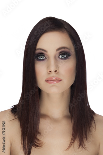 Fototapeten womenART Beautiful Face of Young Woman with Clean Fresh Skin isolated on