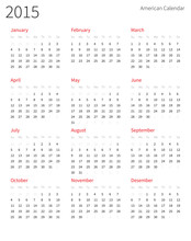 American Calendar 2015 Year. Week Starts From Sunday.