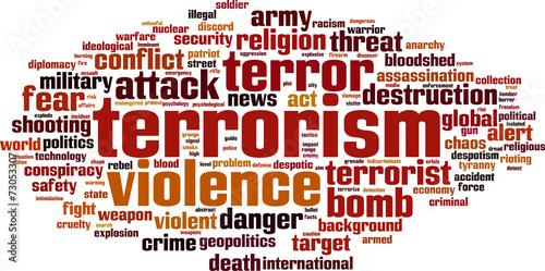 Cuadros en Lienzo Terrorism word cloud concept. Vector illustration