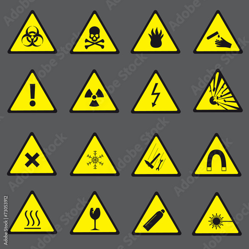 Fotografie, Obraz  yellow and black danger and warning signs set eps10