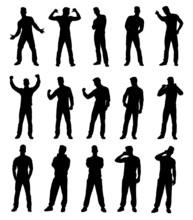 Set Of Various Man Gesture Silhouettes