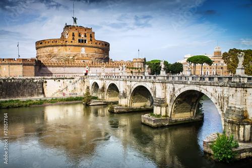 Foto op Aluminium Rome Saint Angel Castle and bridge over the Tiber river in Rome