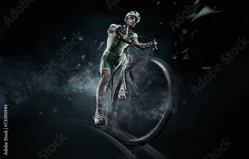 Photo sur Toile Cyclisme Sport. Isolated athlete cyclists
