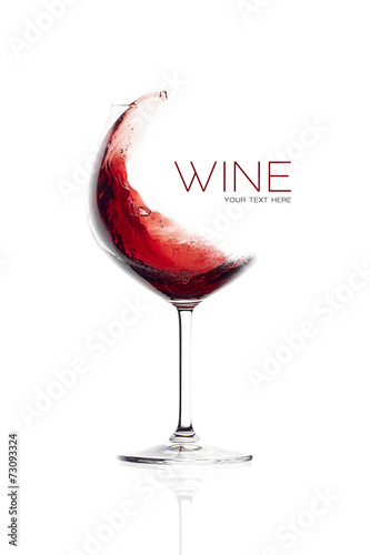 Red Wine in Balloon Glass. Splash Design