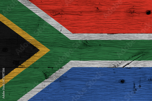 Foto op Canvas Zuid Afrika South Africa national flag painted old oak wood