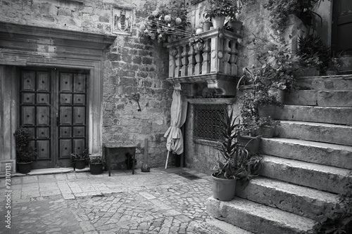 Croatia. Trogir - monochrome black white photo - 73101131