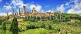 panorama pięknego San Gimignano w Toskanii. Włochy