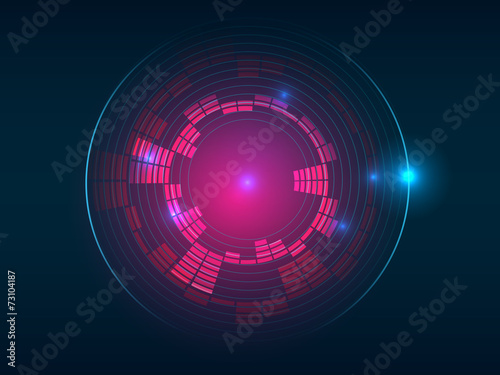 Photo  Abstract red blue circular equalizer background
