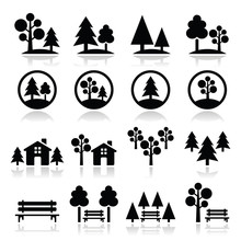 Trees, Forest, Park Vector Ico...